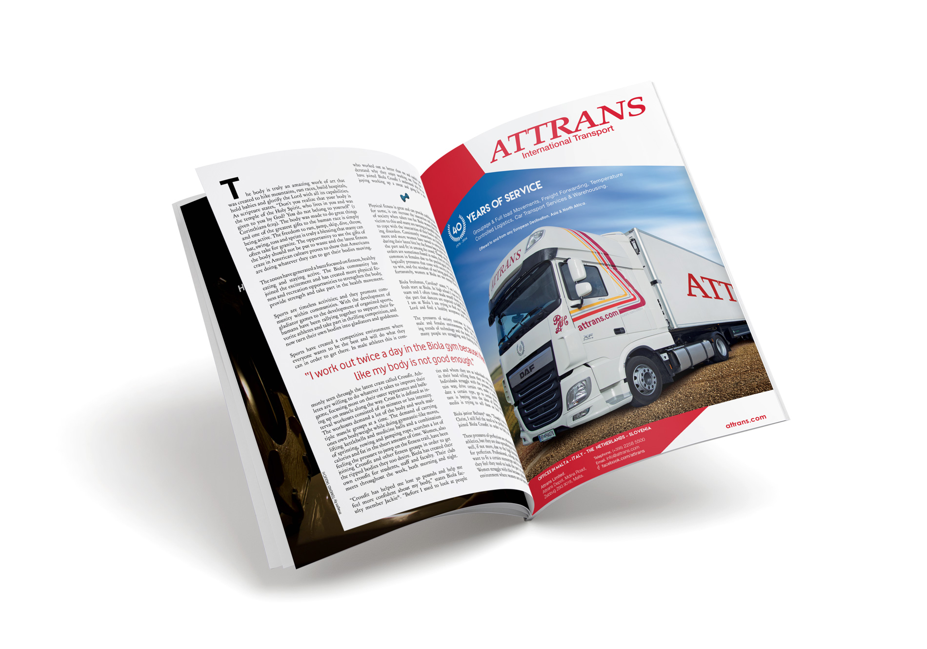 Web Design Malta, Digital Marketing Malta, Web Development Malta, SEO Malta - 4Sight Create - Project: Attrans magazine advert