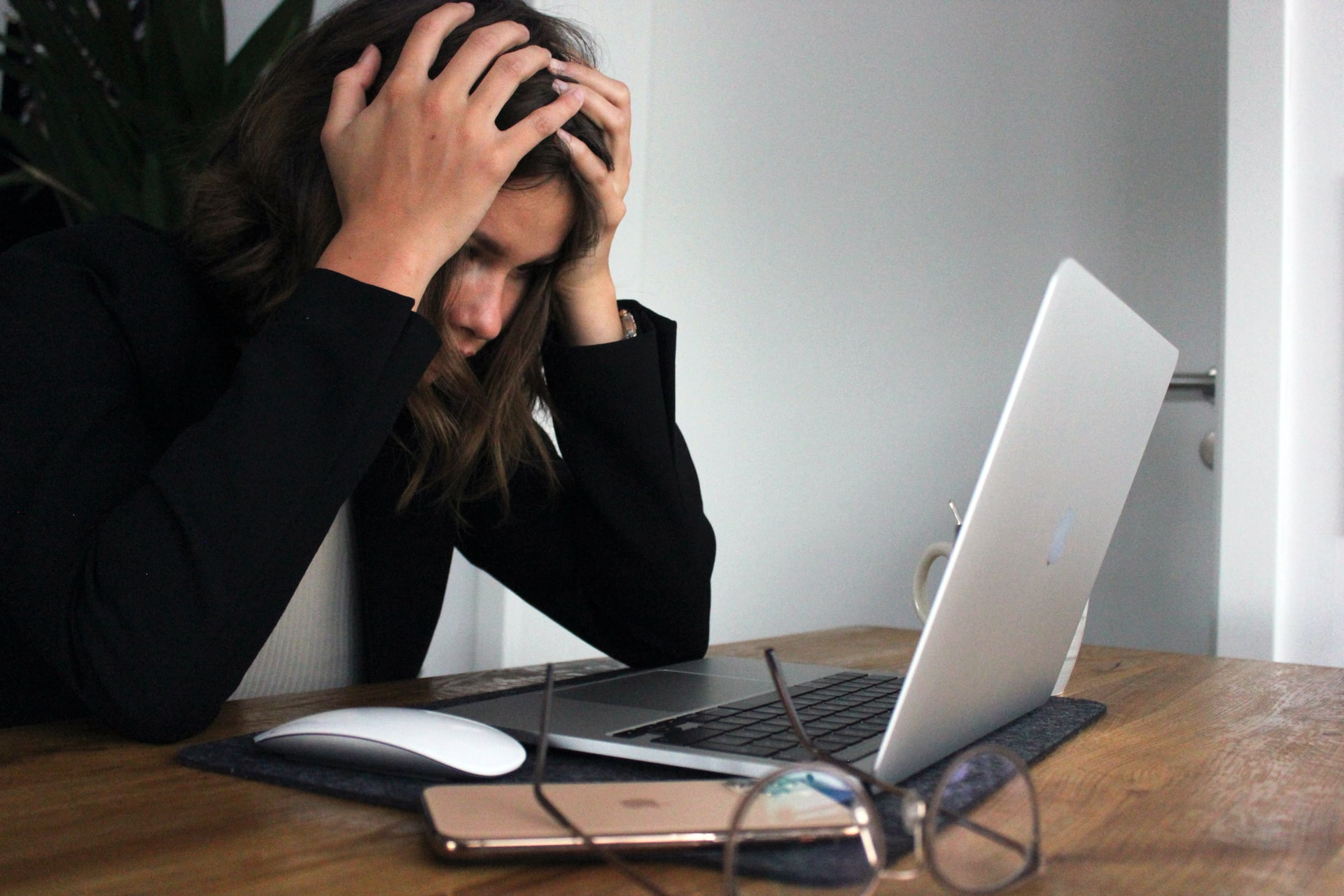 girl trying to fix computer error